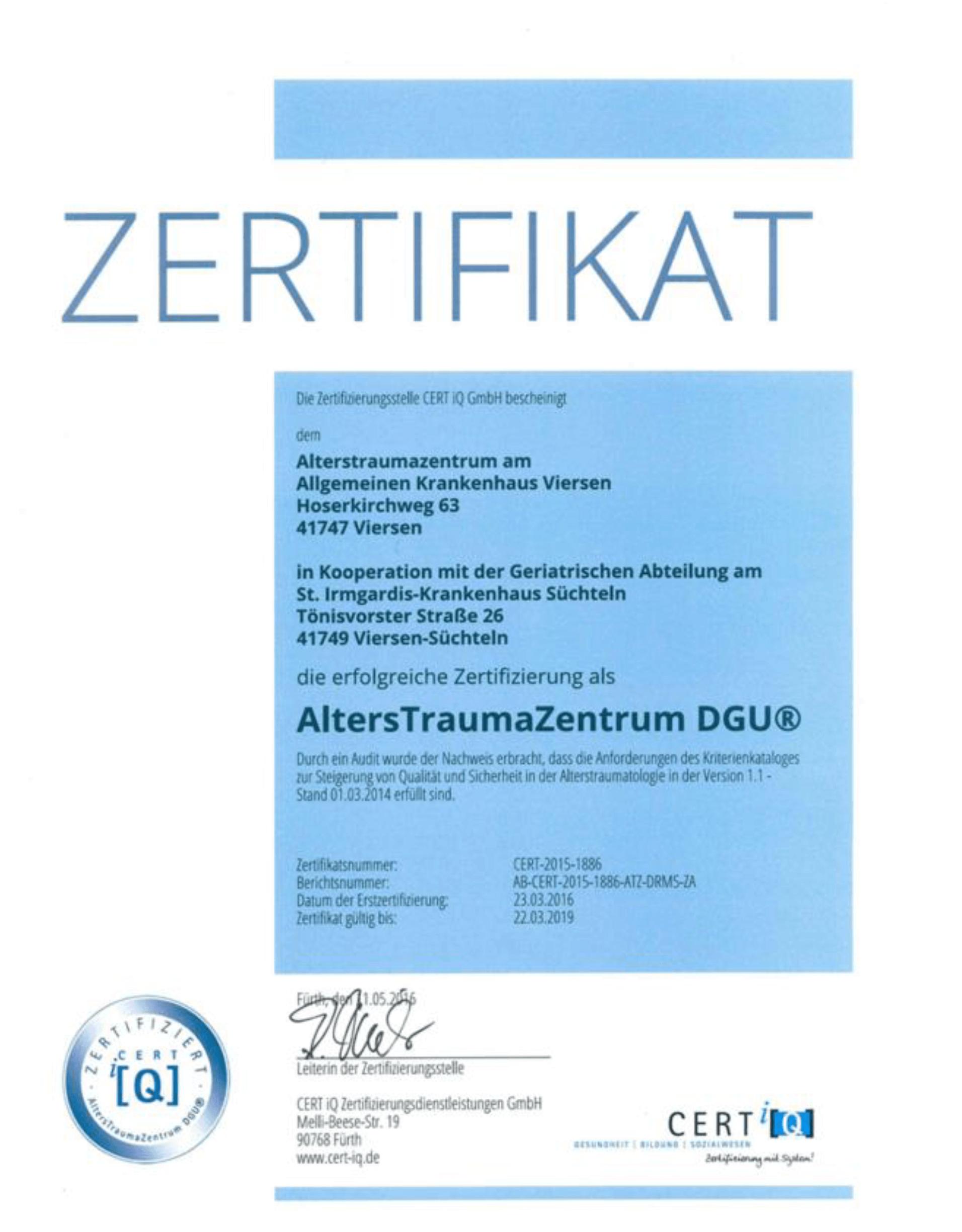 Alterstraumazentrum Zertifizierung